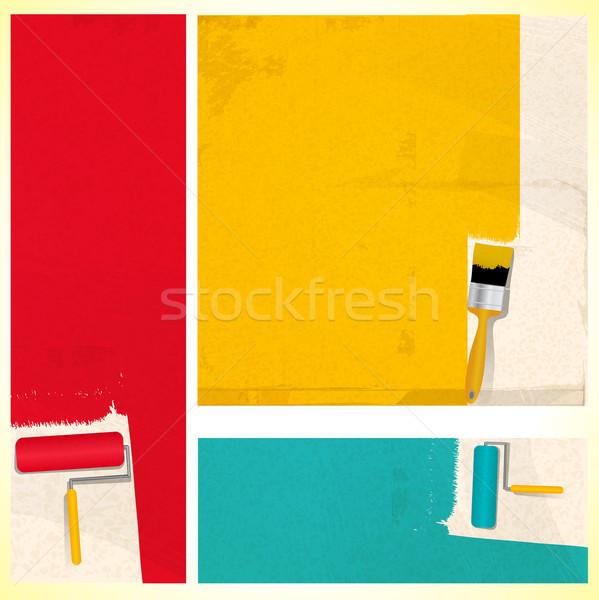 Pincel pintura cepillo rojo Foto stock © elaine