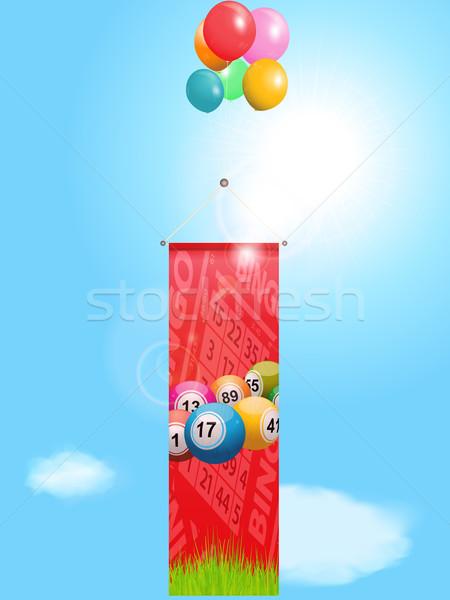 бинго Flying баннер шаров красный Сток-фото © elaine