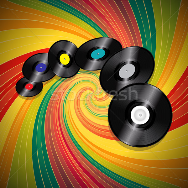 Vinyl records over multicolor vintage swirl background Stock photo © elaine