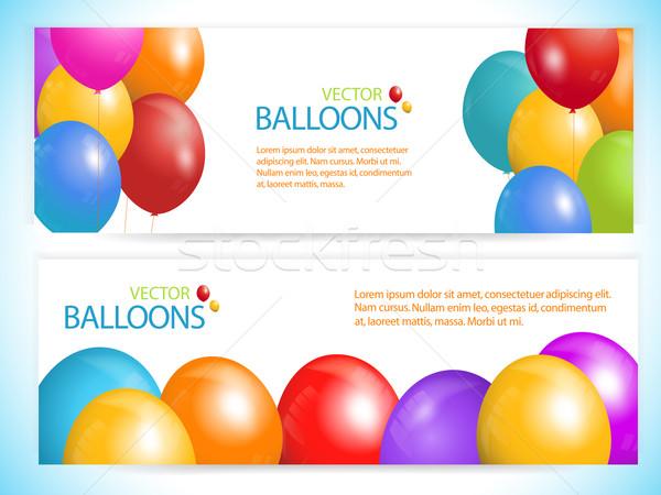 Balon afişler vektör beyaz örnek metin Stok fotoğraf © elaine