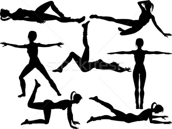 aerobics silhouettes3 Stock photo © elaine