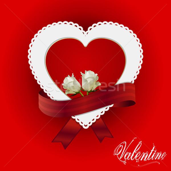 Valentijn hart kaart lint rozen Rood Stockfoto © elaine