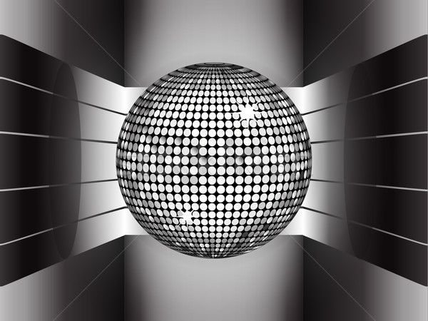 Silver disco ball on metallic 3D environment Stock photo © elaine