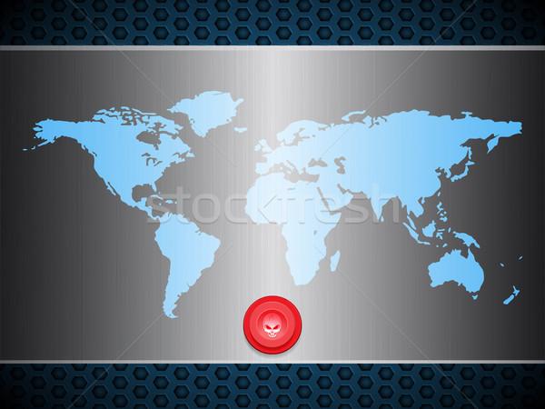 Mapie świata metaliczny srebrny tablicy scary czerwony Zdjęcia stock © elaine