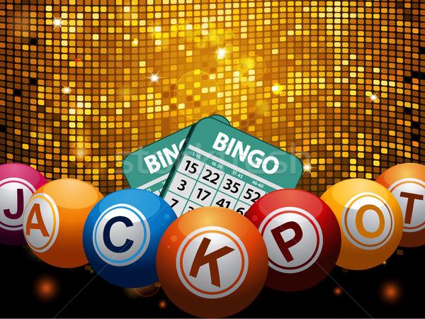 Bingó golyók főnyeremény kártyák diszkó fal Stock fotó © elaine