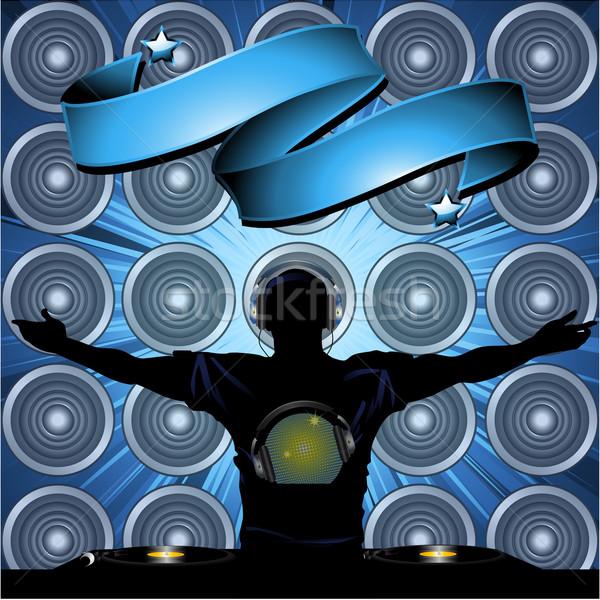 Banner ściany głośniki pocieszyć disco ball Zdjęcia stock © elaine