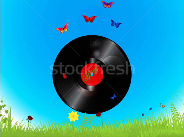 Vinyl record and butterflies background Stock photo © elaine