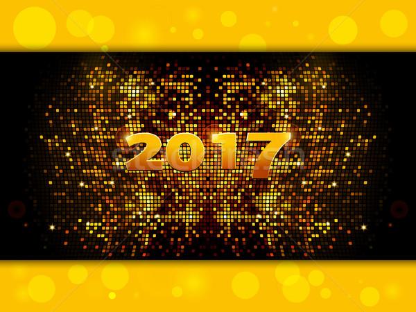 Vinte dezessete ouro mosaico ano novo Foto stock © elaine