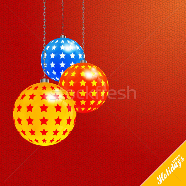 Christmas red textured background with decorated baubles Stock photo © elaine