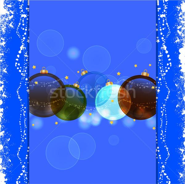Сток-фото: Рождества · безделушка · синий · фон · праздник