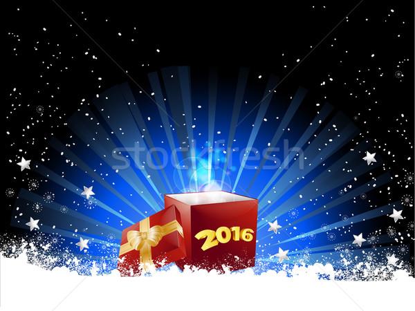 Navidad caja de regalo arco cinta oscuro Foto stock © elaine