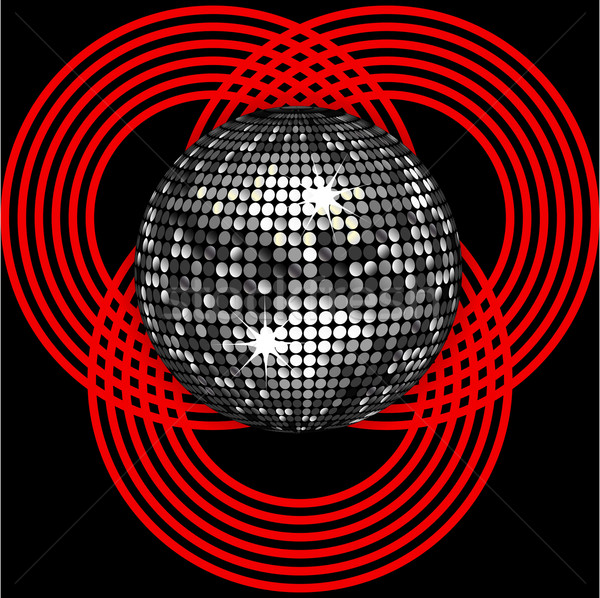 Silver disco ball on circle pattern over black Stock photo © elaine