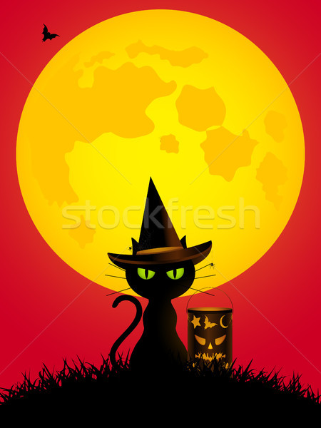 ハロウィン 猫 ランタン スタイル ストックフォト © elaine