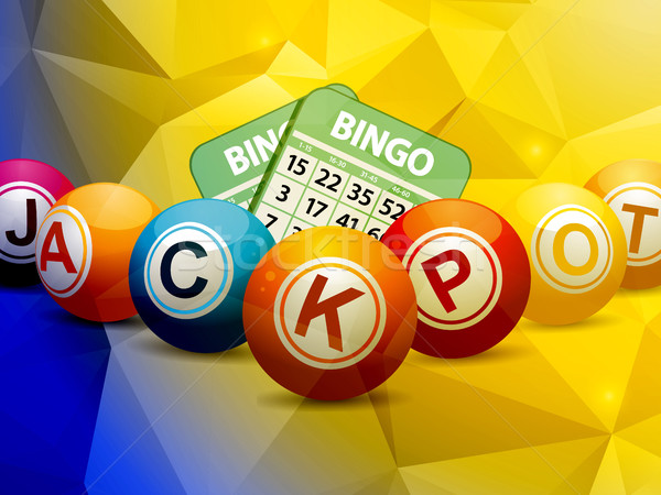 Bingo cartões geométrico azul amarelo Foto stock © elaine