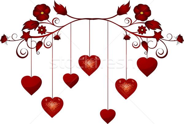 landscape dangling valentine hearts Stock photo © elaine
