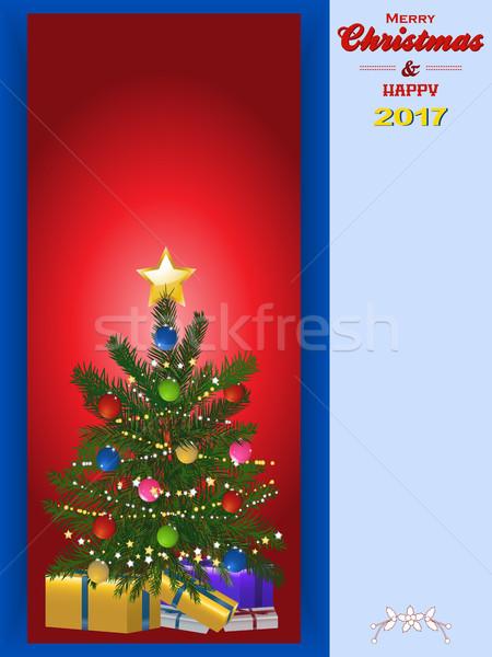 Сток-фото: рождественская · елка · панель · копия · пространства · красный · украшенный