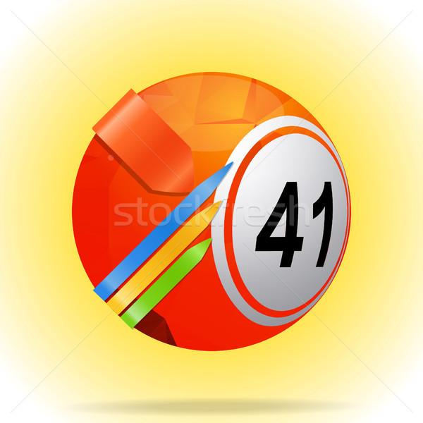 Bingo balle 3d illustration rouge loterie Photo stock © elaine