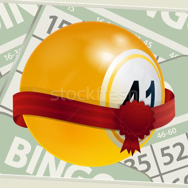 ビンゴ ボール リボン 番号 3次元の図 黄色 ストックフォト © elaine