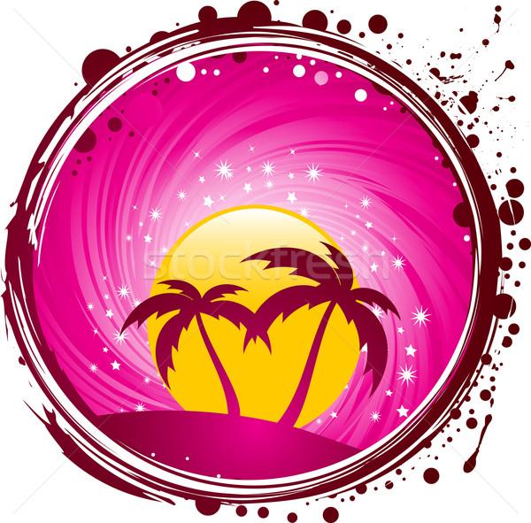 Tropicales paradis cercle grunge palmiers soleil Photo stock © elaine