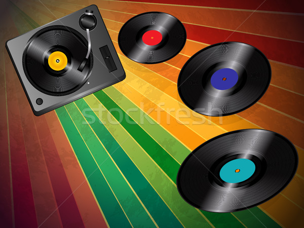 Turnable and vinyls over vintage background Stock photo © elaine