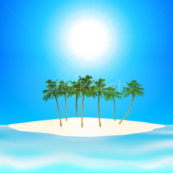 Tropisch eiland palmbomen Blauw zonnige hemel strand Stockfoto © elaine