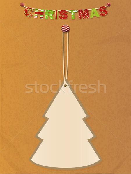 рождественская елка тег грубая оберточная бумага украшенный Рождества подвесной Сток-фото © elaine
