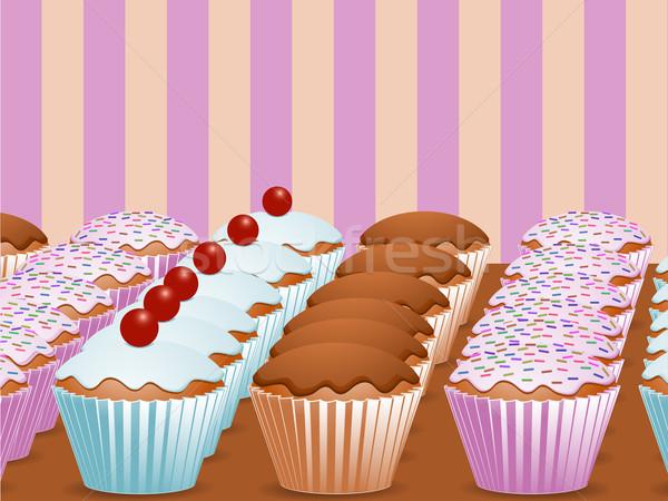 Sorok nyami minitorták minitorta csokoládé rózsaszín Stock fotó © elaine