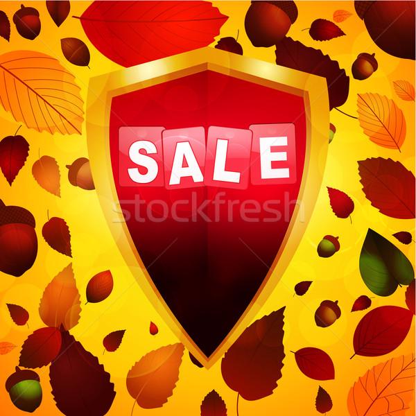 Najaar verkoop label schild achtergrond winkelen Stockfoto © elaine