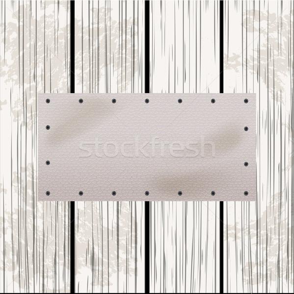 Blanco cuero etiqueta madera panel rectangular Foto stock © elaine