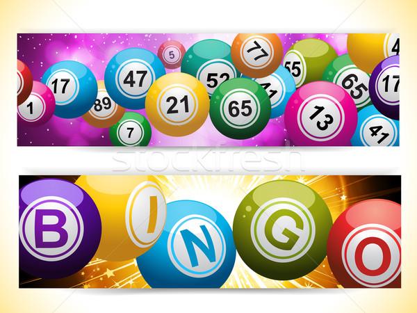 Bingo bal banners paars goud Stockfoto © elaine