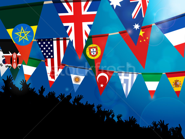 World bunting flags with crowd over blue background Stock photo © elaine