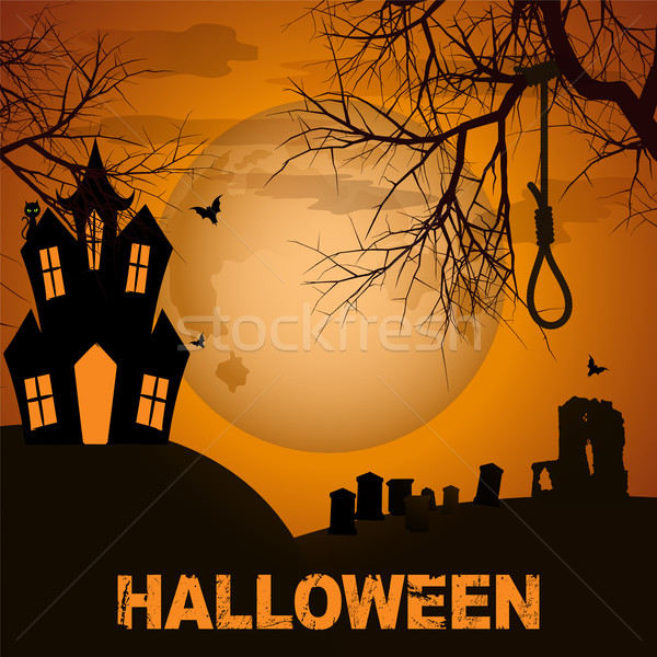 Halloween background with spooky house trees and graveyard Stock photo © elaine