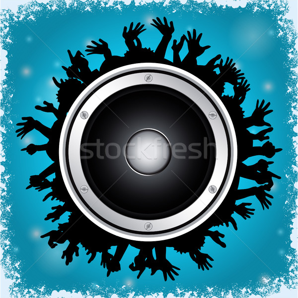Loudspeaker and crowd on blue background Stock photo © elaine
