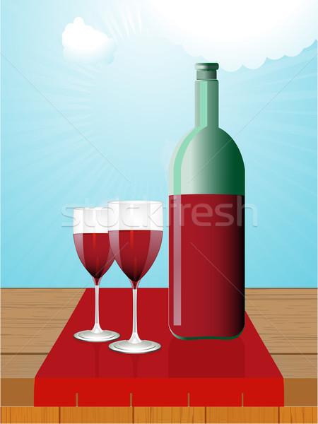 Wijnfles bril houten tafel rode wijn fles twee Stockfoto © elaine