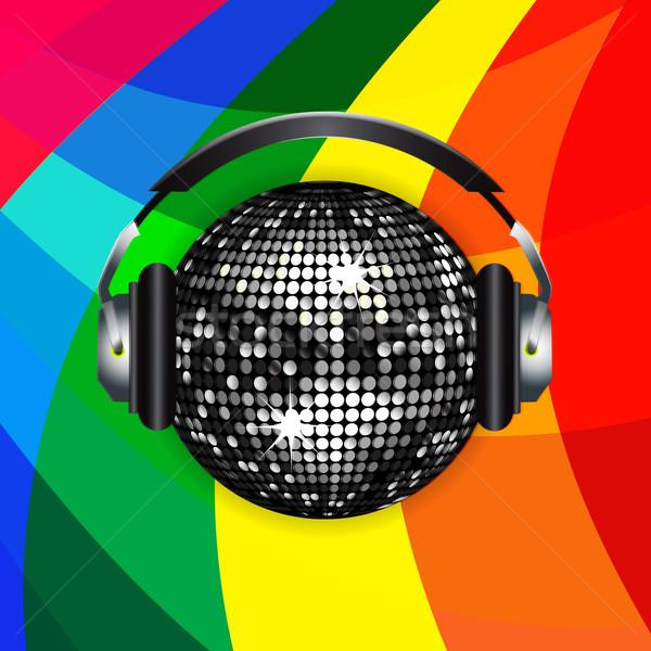 Disco ball hoofdtelefoon regenboog zilver muziek dans Stockfoto © elaine