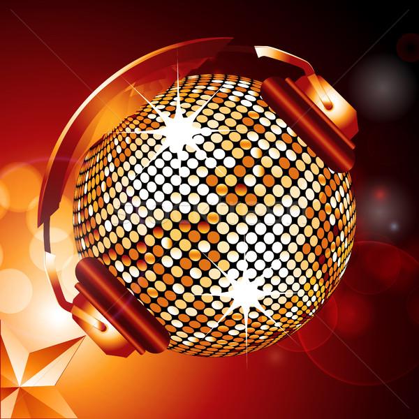 Gouden disco ball hoofdtelefoon star Stockfoto © elaine