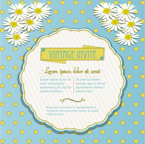Vintage invite with chamomile flowers Stock photo © elaine