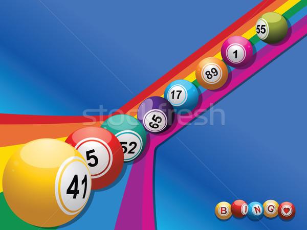Bingo para baixo arco-íris azul projeto Foto stock © elaine