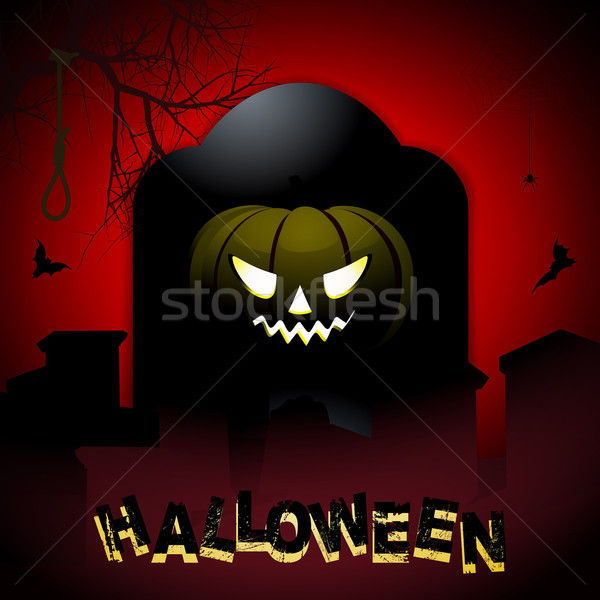 Halloween tombstone and pumpkin background Stock photo © elaine