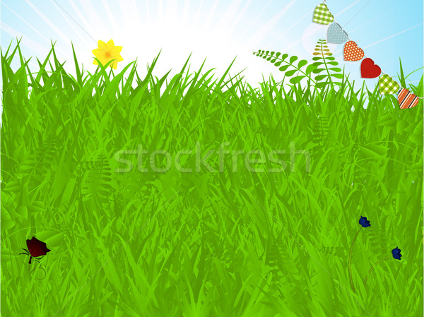 Spring background with grass and bunting Stock photo © elaine