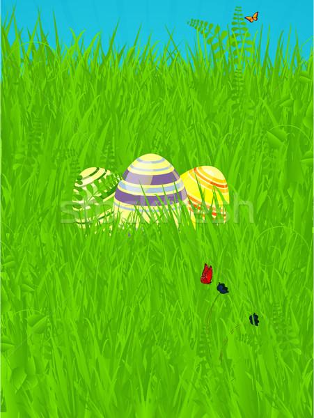 Пасху весны украшенный яйца пасхальных яиц зеленая трава Сток-фото © elaine