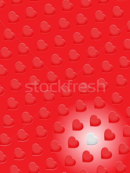 Rojo 3D corazones uno blanco retrato Foto stock © elaine