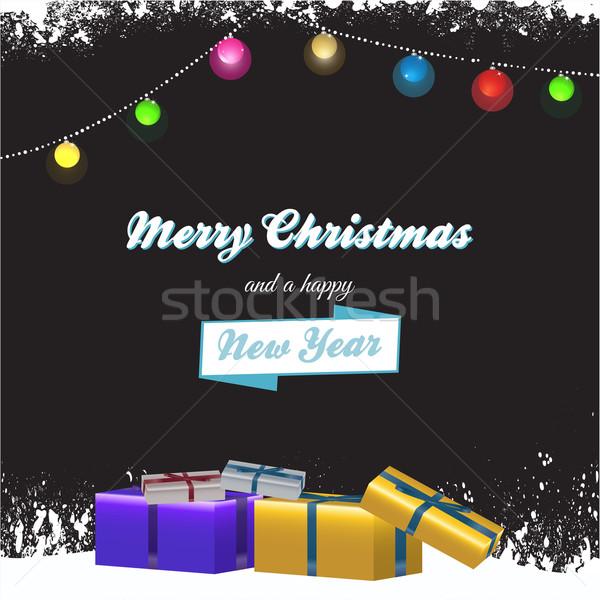 Navidad cajas de regalo texto alegre feliz año nuevo decorado Foto stock © elaine