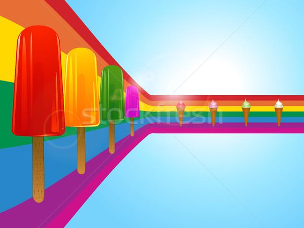 Ice lollies and ice creams on curved rainbow Stock photo © elaine