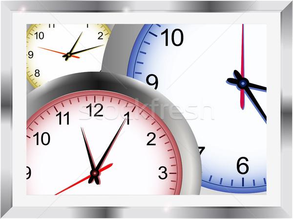 часы фотография металлический кадр 3d иллюстрации часы Сток-фото © elaine