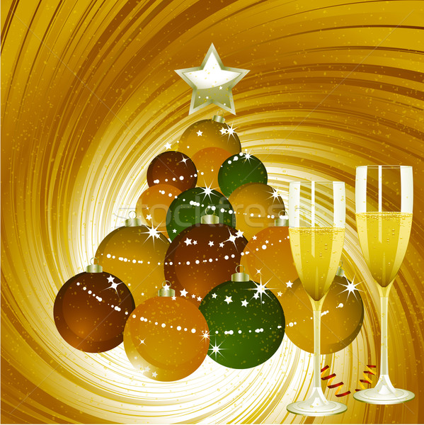 Christmas background with champagne and bauble tree Stock photo © elaine