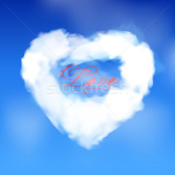 Amor coração nuvem texto branco blue sky Foto stock © elaine