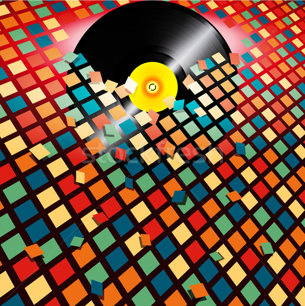Vinyl record breaking coloured tiles background Stock photo © elaine