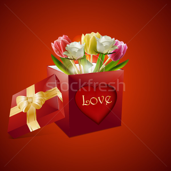 Walentynki róż tulipany szkatułce czerwony serca Zdjęcia stock © elaine