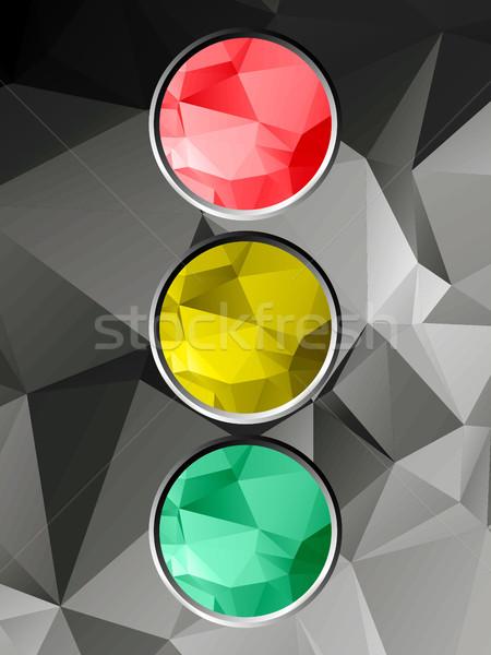 Jelzőlámpa mértani piros citromsárga zöld keretek Stock fotó © elaine